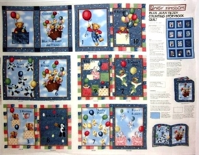 Picture of Blue Jean Teddy Balloon Ride Counting Cotton Fabric Book Craft