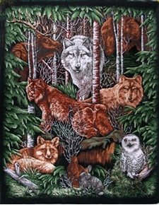Wood Haven Woodland Animals In The Wild Large Cotton Fabric Panel