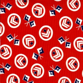 Picture of Patriotic Military Bars and Flags Red Cotton Fabric