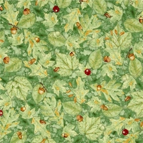 Woodsy Wonder Ladybugs And Acorns On Green Leaves Cotton Fabric