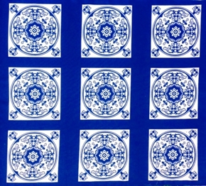 Picture of Blue Moon Classic Blue and White Motif Tiles Cotton Fabric