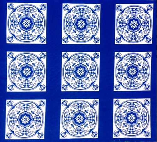 Blue Moon Classic Blue And White Motif Tiles Cotton Fabric