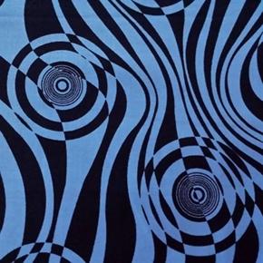 Sketchbook Trendy Geometric Circle Swirl Black And Blue Cotton Fabric