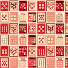 Pam Kitty Sewing Buttons Valentine Squares 20X22 Cotton Fabric