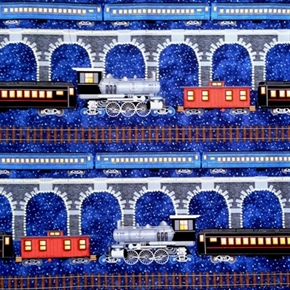 Picture of Railroad Night Train in the Snow 24x22 Cotton Fabric