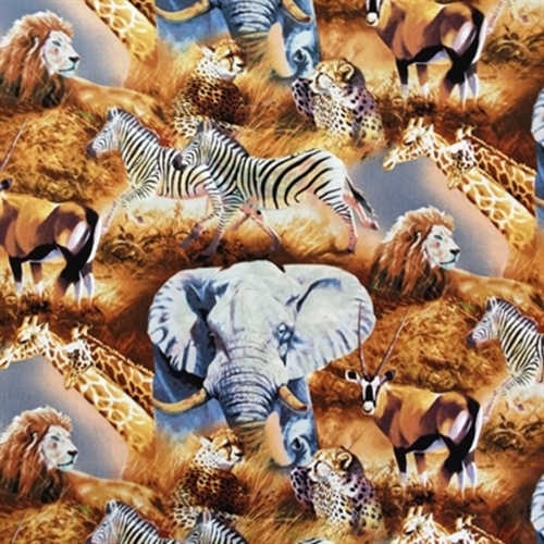 Kenyan Plains Scenic Large African Animals Cotton Fabric