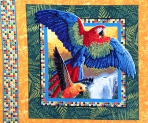 Wings Of Paradise Tropical Scarlet Macaw Parrots Cotton Pillow Panel