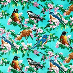 Cherry Pink Songbirds And Dogwood Flowers On Teal Cotton Fabric
