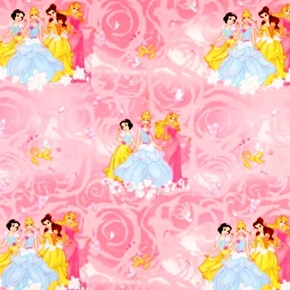 Picture of Disney Princess Blossom Scenic Cinderella, Belle, Snow Cotton Fabric