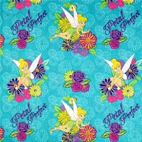 Picture of Disney Tink Petal Perfect Tinkerbell and Flowers Aqua Cotton Fabric