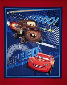 Picture of Disney Cars Speed Racing Mater and McQueen Large Cotton Fabric Panel
