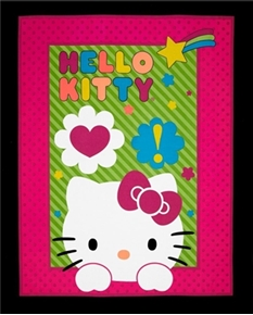 Hello Kitty Neon Expressions Pink Polka Dot Large Cotton Fabric Panel