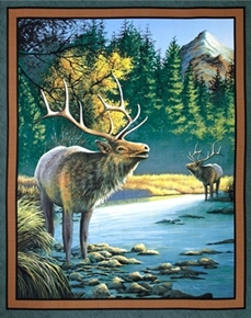 Mountain Sky Elk In The Forest Large Cotton Fabric Panel