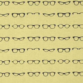 Picture of Geekly Chic Black Eyeglass Frames Eyeglasses on Cream Cotton Fabric