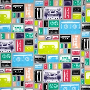 Picture of Geekly Chic Music Cassettes Retro Cassette Tapes Grey Cotton Fabric
