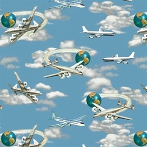 Planes Trains And Automobiles Planes And Jets In Sky Cotton Fabric