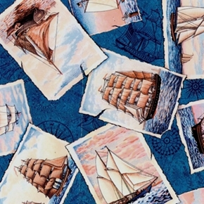 Ports Of Call Postcards Ships Scooners Sailboats Cotton Fabric