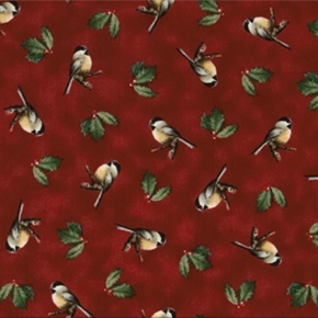 Winter Birds Hautman Chickadees And Holly On Dark Red Cotton Fabric