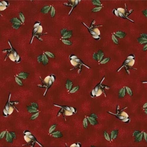 Winter Birds Hautman Chickadees And Holly On Dark Red Cotton Fabric