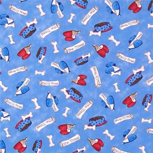 a Dogs Life Dog Puppy Bones Bowls And Slippers Blue Cotton Fabric