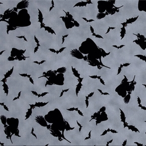 Picture of Witches Brew Haha Halloween Witches, Brooms and Bats Cotton Fabric