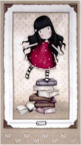 Picture of Simply Gorjuss Santoro Girl on Books 24x44 Large Cotton Fabric Panel