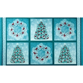 Winter Enchantment Christmas Holiday 24X44 Large Cotton Fabric Panel