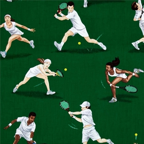 Large Tennis Players Hitting Ball With Racquet On Green Cotton Fabric