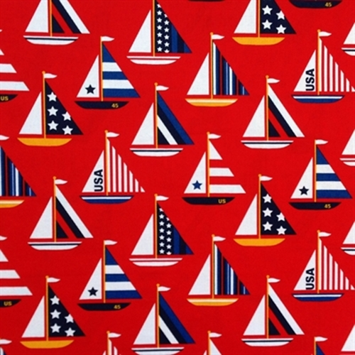 Usa Patriotic Sailboats Stripes And Stars On Red Cotton Fabric