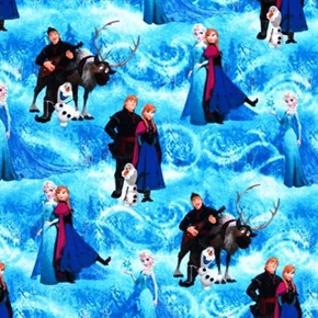 Disney Frozen Character Scenic Cotton Fabric