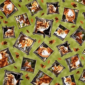 Out Of The Den Mother Fox And Cub In Squares On Green Cotton Fabric