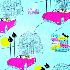 Picture of Barbie Dolls Cars on Blue Cotton Fabric