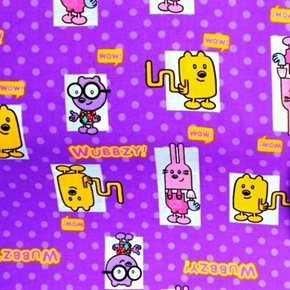 Wow Wow Wubbzy Characters On Purple Polka Dots Cotton Fabric