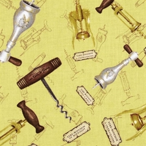 Picture of You Had Me At Merlot Wine Openers Cork Screws on Gold Cotton Fabric