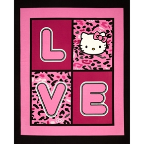 Hello Kitty Cheetah Love Large Cotton Fabric Panel