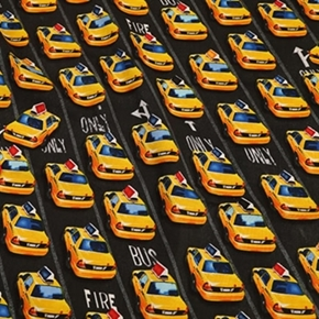 City Taxis Taxi Cars In Lanes Cotton Fabric