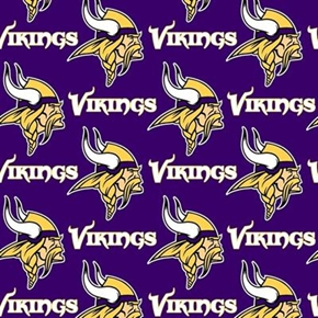 Nfl Football Minnesota Vikings 18X29 Cotton Fabric