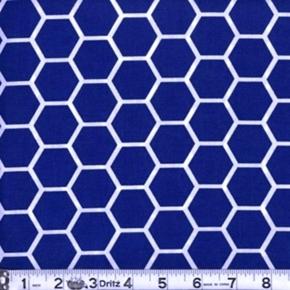 Honeycomb Pattern White On Royal Blue Cotton Fabric