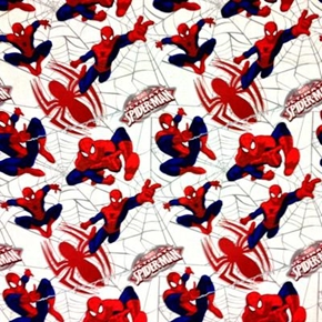 Ultimate Spiderman Webs And Spiders On White Cotton Fabric