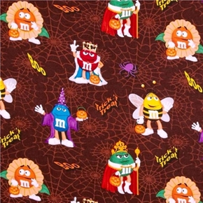 Picture of Trick or Boo Halloween M&M Guys in Costumes Cotton Fabric