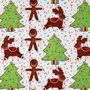 Cookie Cutouts Holiday Gingerbread Cookies Sprinkles Cotton Fabric