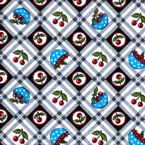 Picture of Very Very Cherry Mary Engelbreit Cherries Bowls Squares Cotton Fabric