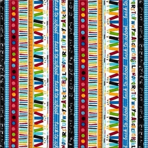 School Stripe Pencils Mathematics Letters Rulers Cotton Fabric