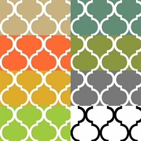 Quatrefoils In Muted Colors 8 Fat Quarter Cotton Fabric Collection