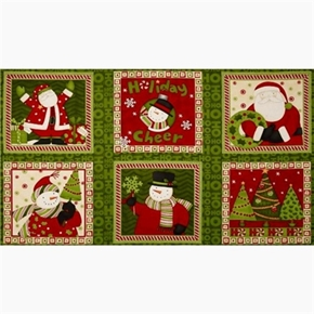 Ho Ho Holiday Santa And Snowman 24X44 Cotton Fabric Panel Set