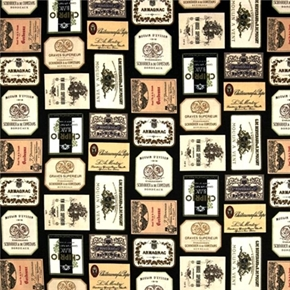 Picture of Italian Vineyards Italian Wine Labels on Black Cotton Fabric