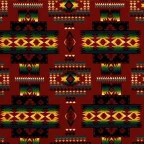 Tucson Southwest Aztec Design On Terracotta Cotton Fabric