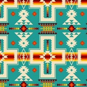 Tucson Southwest Aztec Red Orange Design On Turquoise Cotton Fabric