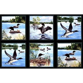 Loon Island Six Scenes With Loons 24X44 Cotton Fabric Pillow Panel Set