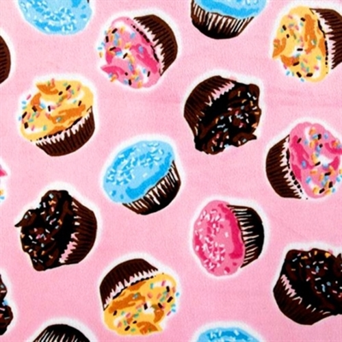 Delicious Cupcakes On Pink Half Yard Soft Minky Fabric